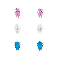 Simply Silver - Sterling silver 925 multi-coloured cubic zirconia 3 pack teardrop stud earrings