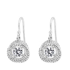Simply Silver - Sterling silver 925 white cubic zirconia knot drop earrings