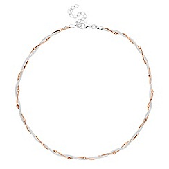 Simply Silver - Sterling silver two tone bead twist mesh necklace
