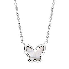Simply Silver - Sterling silver mother of pearl butterfly necklace