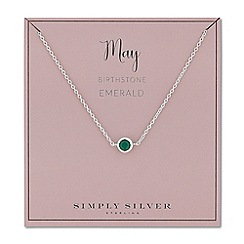 Simply Silver - Sterling silver may emerald birthstone necklace