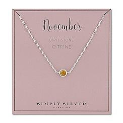 Simply Silver - Sterling silver november citrine birthstone necklace