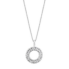 Simply Silver - Sterling silver pave circle necklace