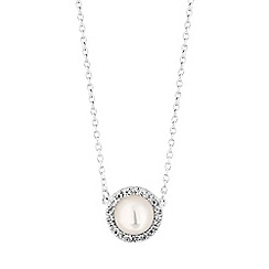 Simply Silver - Sterling silver pearl halo necklace