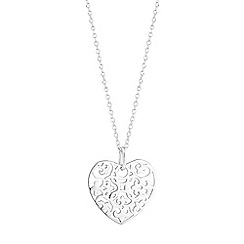 Simply Silver - Sterling silver filigree heart necklace