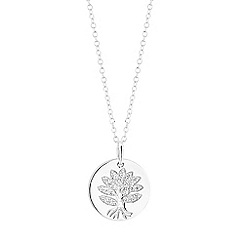 Simply Silver - Sterling silver tree of life disc necklace