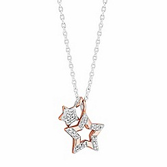 Simply Silver - Sterling silver pave star charm necklace