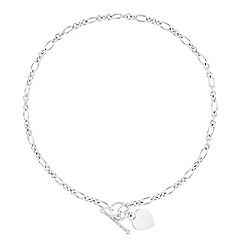 Simply Silver - Sterling silver heart t bar necklace