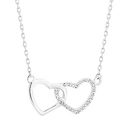 Simply Silver - Sterling silver pave double heart necklace