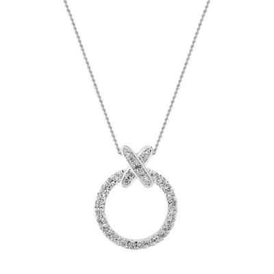 Simply Silver   Sterling Silver Cubic Zirconia Kiss Hoop Pendant Necklace by Simply Silver