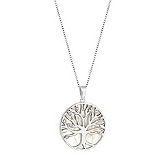 Simply Silver - Sterling silver pearl tree of life disc pendant necklace