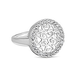 Simply Silver - Sterling silver pave filigree disc ring