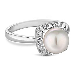 Simply Silver - Sterling silver pave pearl ring