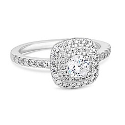 Simply Silver - Sterling silver square halo ring