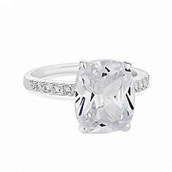 Simply Silver - Sterling silver cubic zirconia statement ring