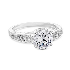 Simply Silver - Sterling silver vintage style cubic zirconia ring