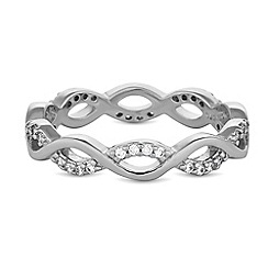 Simply Silver - Sterling silver pave infinity band ring