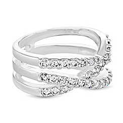 Simply Silver - Sterling silver cubic zirconia cross over ring