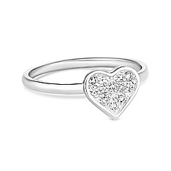 Simply Silver - Sterling silver pave heart ring