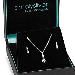 Simply Silver - Sterling silver cubic zirconia stick necklace and earring set
