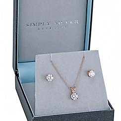 Simply Silver - Rose gold plated sterling silver cubic zirconia necklace and earring set