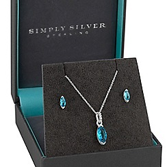 Simply Silver - Sterling silver aqua jewellery set in a gift box