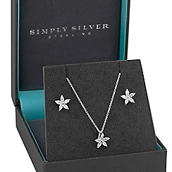 Simply Silver - Sterling silver cubic zirconia flower jewellery set