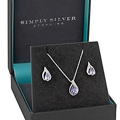 Simply Silver - Sterling silver pave twist jewellery set in a gift box