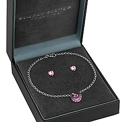 Simply Silver - Sterling silver heart bracelet and earrings set created with Swarovski crystals