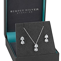Simply Silver - Sterling silver double cubic zirconia jewellery set