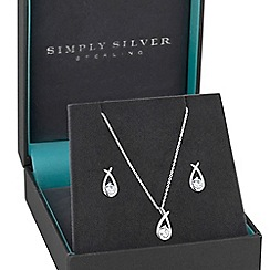 Simply Silver - Sterling silver cubic zirconia knot jewellery set