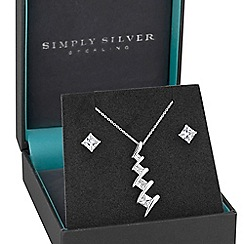Simply Silver - Sterling cubic zirconia square twist jewellery set