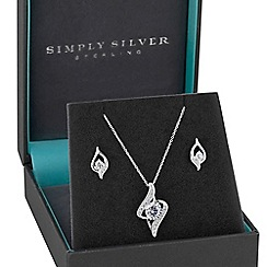 Simply Silver - Sterling silver 925 white cubic zirconia twist matching set