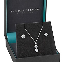 Simply Silver - Sterling silver 925 white cubic zirconia princess cut graduated pendant matching set