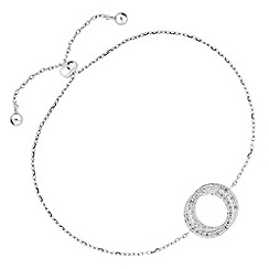 Simply Silver - Sterling silver pave double circle bracelet