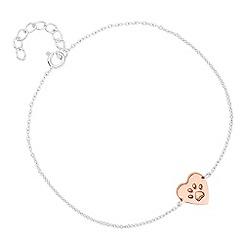 Simply Silver - Sterling silver heart paw print bracelet