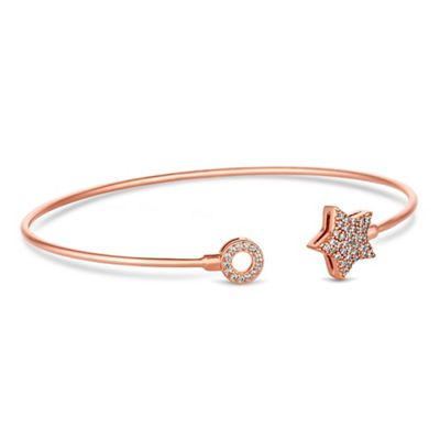 Simply Silver   Sterling Silver Pave Star Bangle by Simply Silver