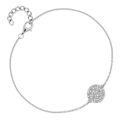 Simply Silver   Sterling Silver Pave Disc Bracelet by Simply Silver