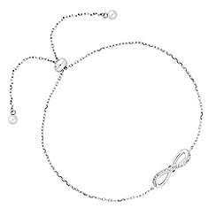 Simply Silver - Sterling silver cubic zirconia bow toggle bracelet