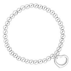 Simply Silver - Sterling silver beaded heart charm bracelet