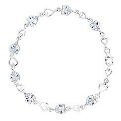Simply Silver Sterling Cubic Zirconia Heart Link Bracelet