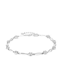Simply Silver - Sterling silver 925 white cubic zirconia solitaire station tennis bracelet