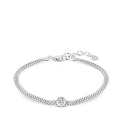 Simply Silver - Sterling Silver 925 White Cubic Zirconia Disc Mesh Bracelet