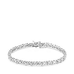 Simply Silver - Sterling silver 925 white cubic zirconia kiss solitaire line bracelet