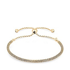 Simply Silver - 12Ct Yellow Gold Plated Sterling Silver Popcorn Toggle Bracelet