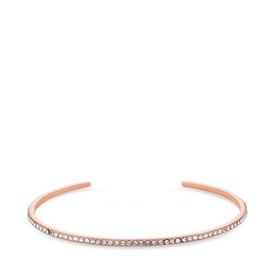 Simply Silver   14ct Rose Gold Plated Sterling Silver White Swarovski Stone Fine Bangle Bracelet by Simply Silver