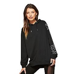 Miss Selfridge - Pineapple black longline oversized hoodies