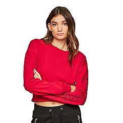 Miss Selfridge - Red ribbed hem sweatshirt