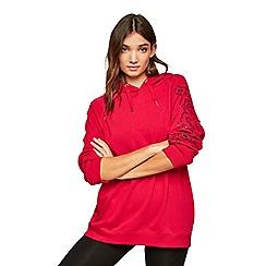 Miss Selfridge - Pineapple red long-line logo hoody