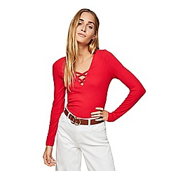 Miss Selfridge - Red long sleeve lattice top